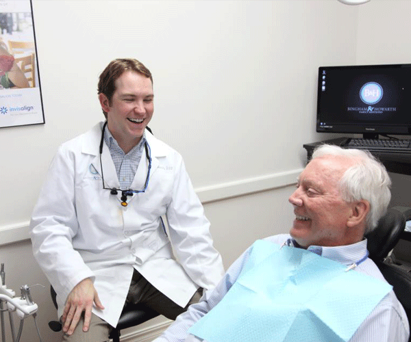 Dr. Howarth talking with a patient
