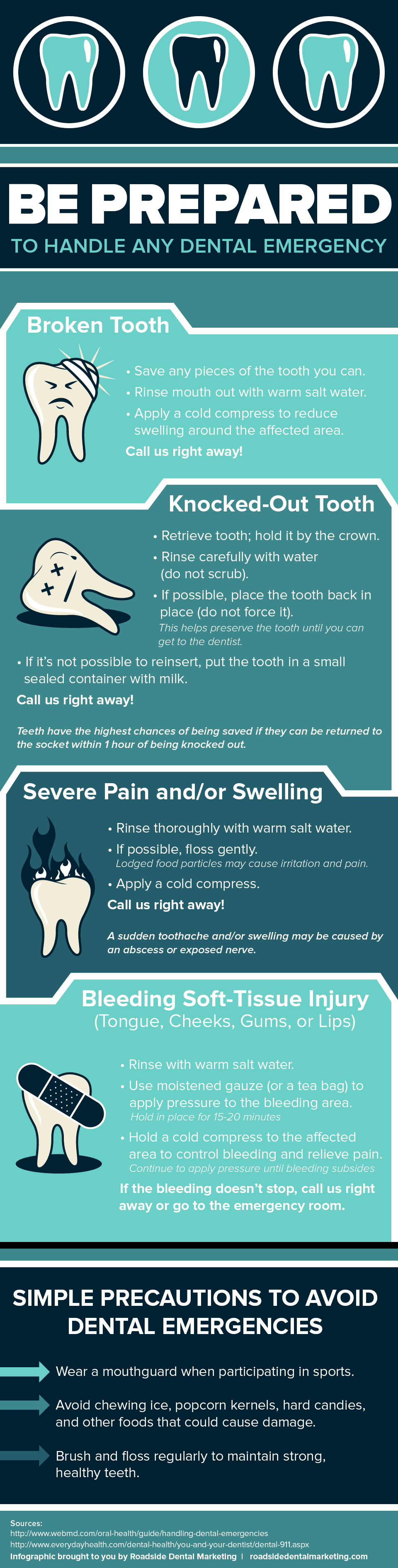 Learn how to handle common dental emergencies in this infographic.