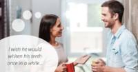 woman telling man to whiten teeth